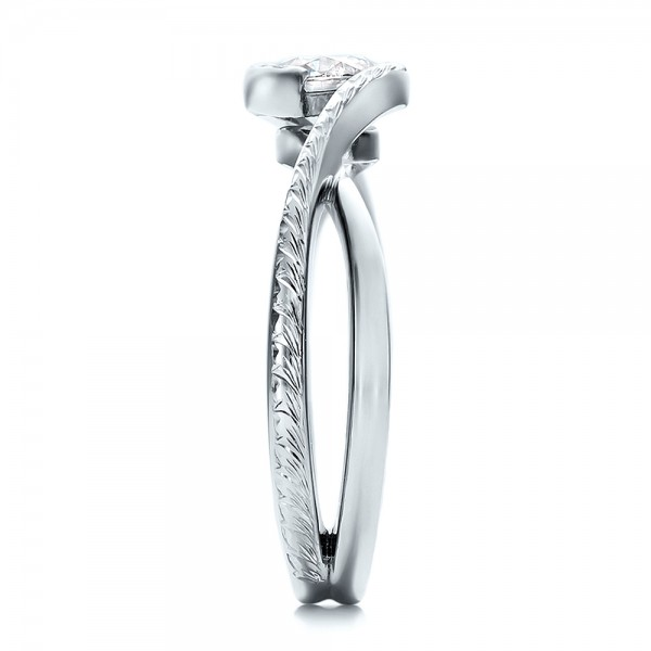 Custom Hand Engraved Diamond Solitaire Engagement Ring - Side View