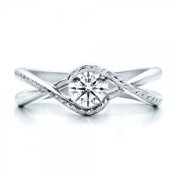 Custom Hand Engraved Diamond Solitaire Engagement Ring - Top View