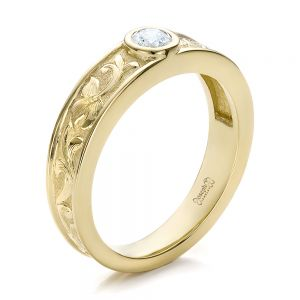 Custom Hand Engraved Diamond Solitaire Wedding Ring - Image