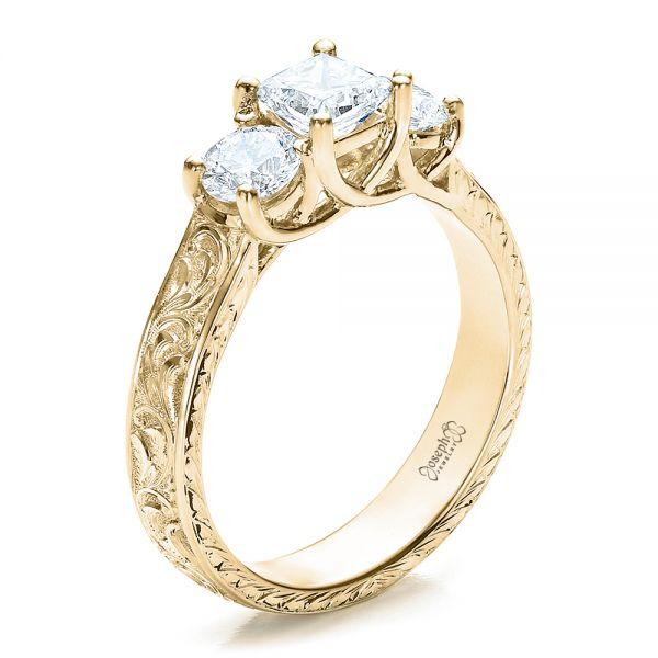 18k Yellow Gold Custom Hand Engraved Engagement Ring 100115 Seattle Bellevue Joseph Jewelry