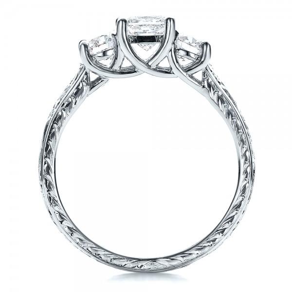 Custom Hand Engraved Engagement Ring - Finger Through View