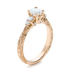 Custom Hand Engraved Rose Gold and Diamond Engagement Ring - Image