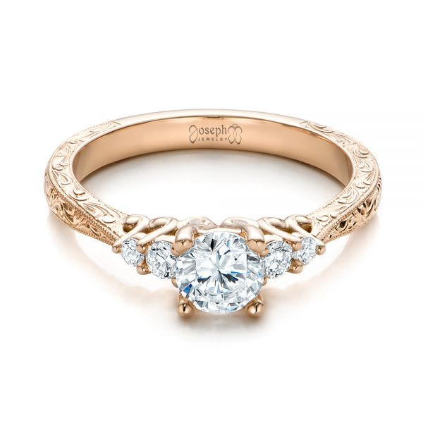 14k Rose Gold Custom Hand Engraved Diamond Engagement Ring - Flat View -