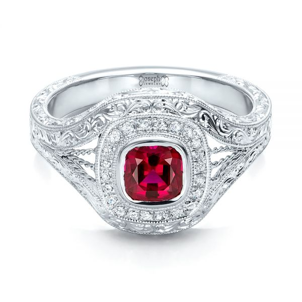 Custom Hand Engraved Ruby and Diamond Engagement Ring - Flat View -  101226 - Thumbnail