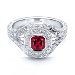 Custom Hand Engraved Ruby and Diamond Engagement Ring