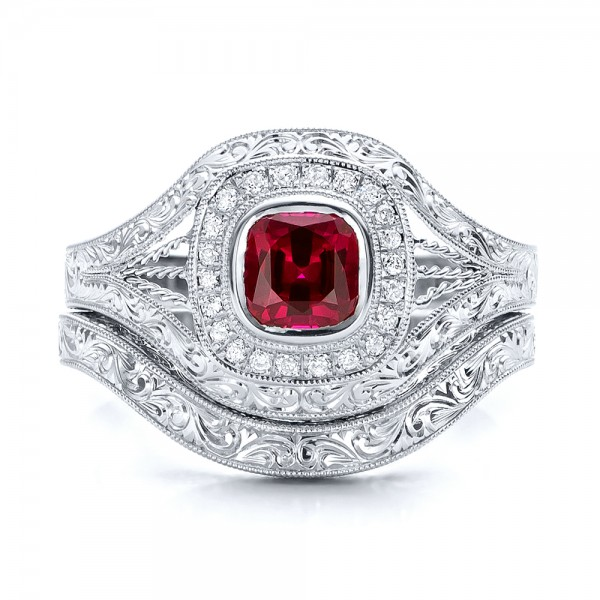 Custom Hand Engraved Ruby and Diamond Engagement Ring - Top View -  101226 - Thumbnail