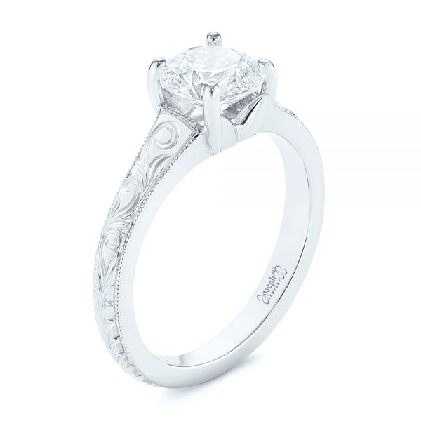Platinum Custom Hand Engraved Solitaire Diamond Engagement Ring - Three-Quarter View -  104085