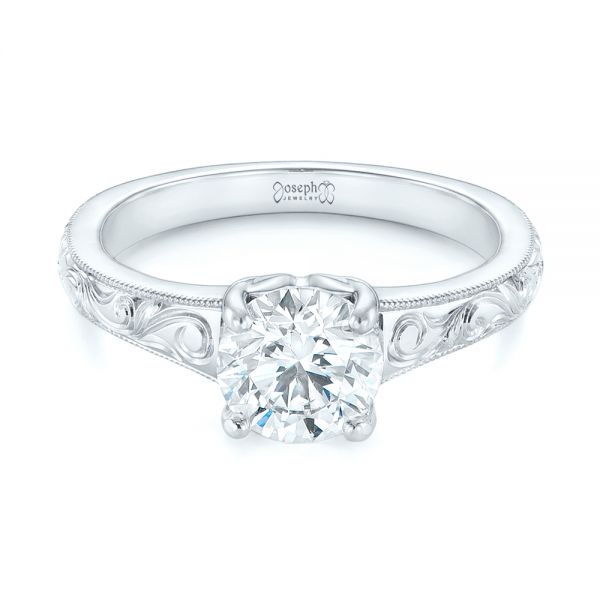 Platinum Custom Hand Engraved Solitaire Diamond Engagement Ring - Flat View -  104085