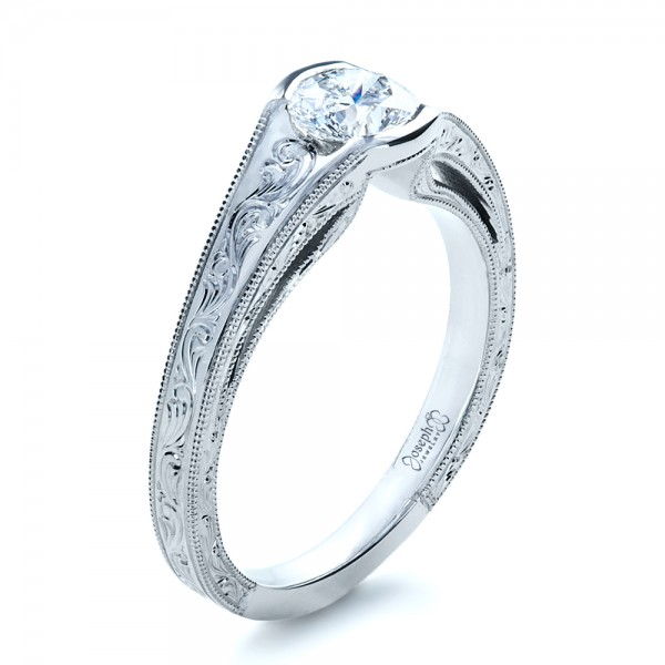 Custom Hand Engraved Solitaire Engagement Ring