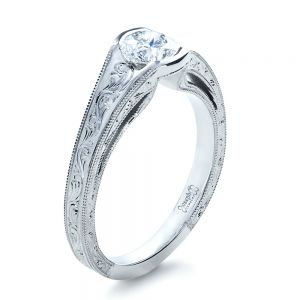 Custom Hand Engraved Solitaire Engagement Ring - Image