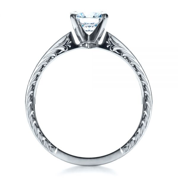 18k White Gold Custom Hand Engraved Solitaire Engagement Ring - Front View -