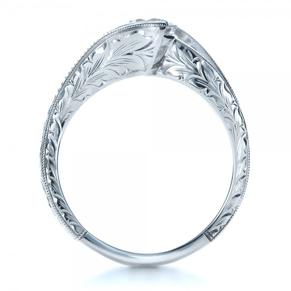 Custom Hand Engraved Solitaire Engagement Ring - Finger Through View