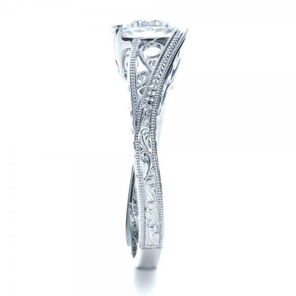 Custom Hand Engraved Solitaire Engagement Ring - Side View