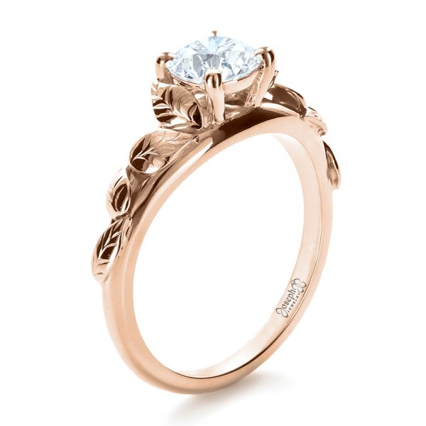 18k Rose Gold 18k Rose Gold Custom Hand Fabricated Engagement Ring - Three-Quarter View -