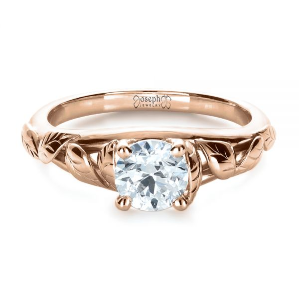 18k Rose Gold 18k Rose Gold Custom Hand Fabricated Engagement Ring - Flat View -