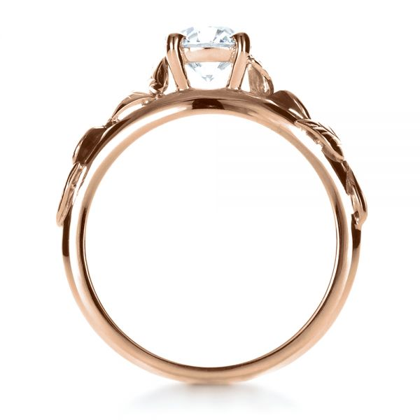 18k Rose Gold 18k Rose Gold Custom Hand Fabricated Engagement Ring - Front View -