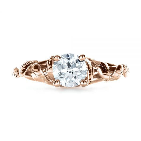 18k Rose Gold 18k Rose Gold Custom Hand Fabricated Engagement Ring - Top View -