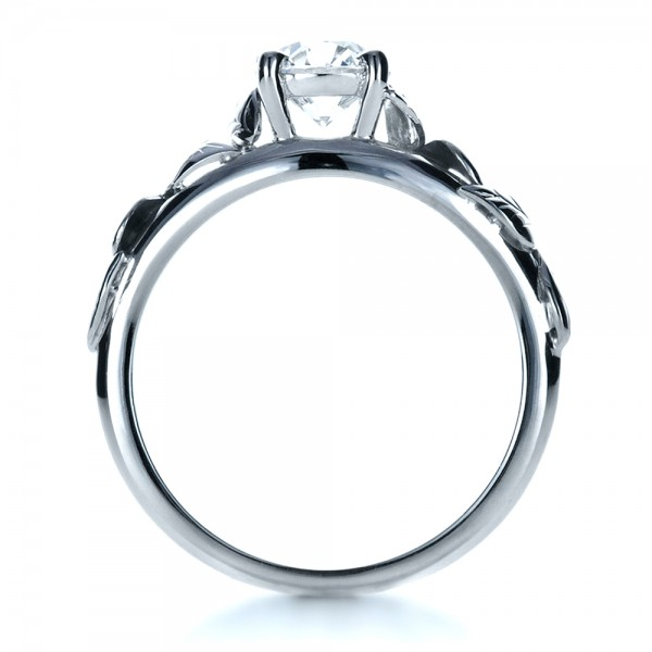 Custom Hand Fabricated Engagement Ring - Front View -  1263 - Thumbnail