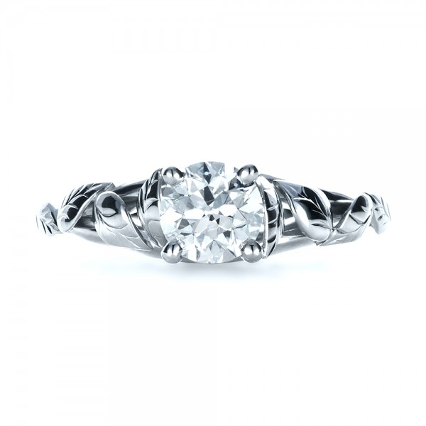 Custom Hand Fabricated Engagement Ring - Top View -  1263 - Thumbnail