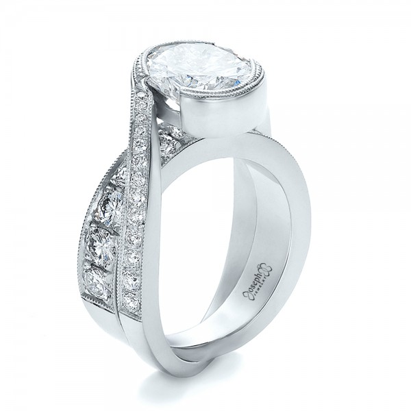 custom interlocking diamond engagement ring 100615 - Interlocking Wedding Rings
