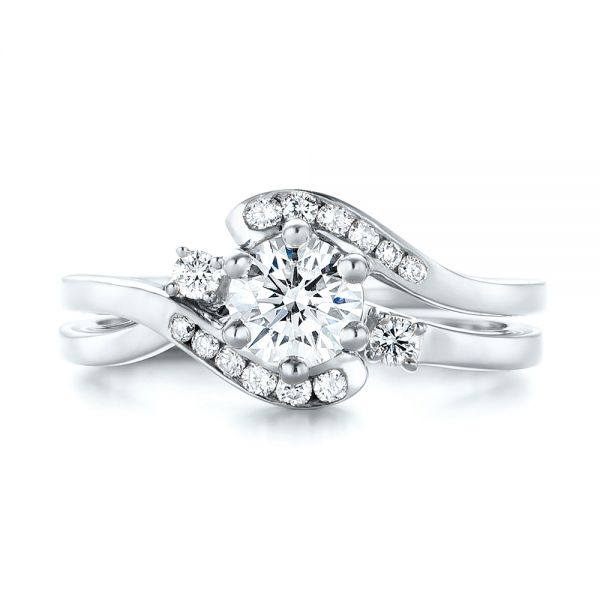 18k White Gold 18k White Gold Custom Interlocking Diamond Engagement Ring - Three-Quarter View -