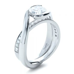Custom Interlocking Diamond Engagement Ring - Image