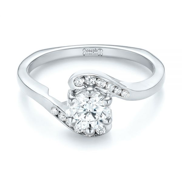 18k White Gold 18k White Gold Custom Interlocking Diamond Engagement Ring - Flat View -