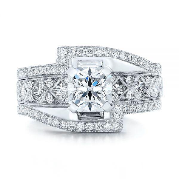 Custom Interlocking Diamond Engagement Ring #102177