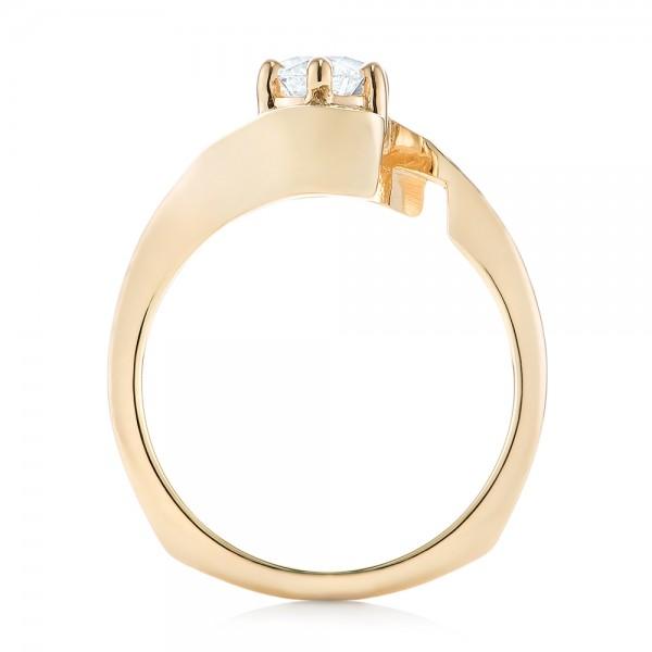 Custom Interlocking Diamond Engagement Ring - Finger Through View