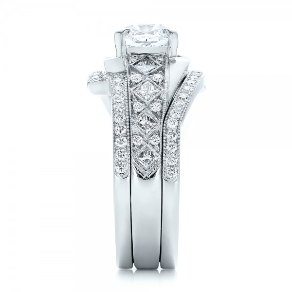 Custom Interlocking Diamond Engagement Ring - Side View