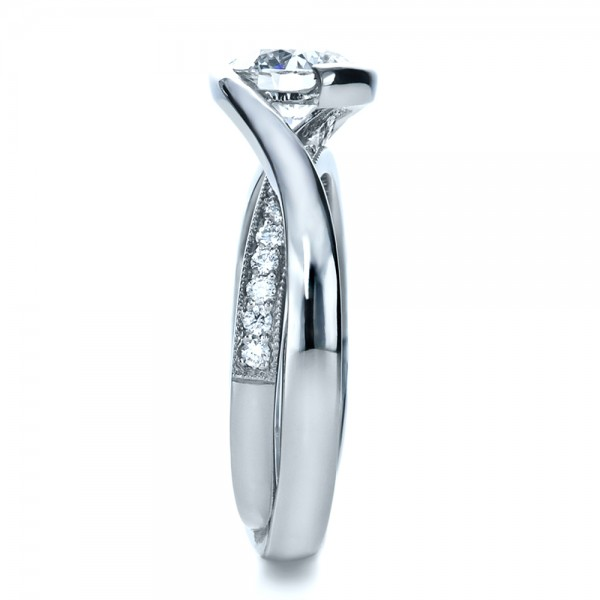 Custom Interlocking Diamond Engagement Ring - Side View