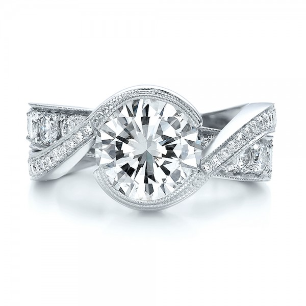 Custom Interlocking Diamond Engagement Ring - Top View