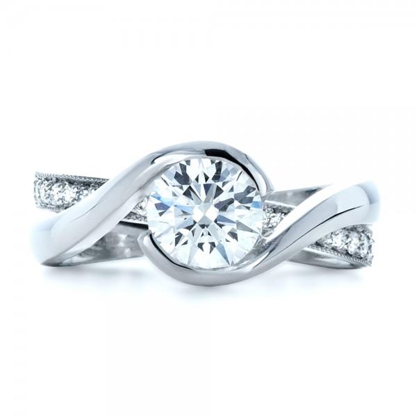 Custom Interlocking Diamond Engagement Ring - Top View