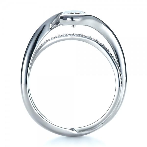 Custom Interlocking Engagement Ring - Finger Through View