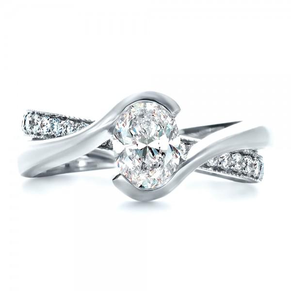 Custom Interlocking Engagement Ring - Top View