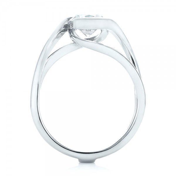 Custom Interlocking Solitaire Engagement Ring - Front View -  102244 - Thumbnail