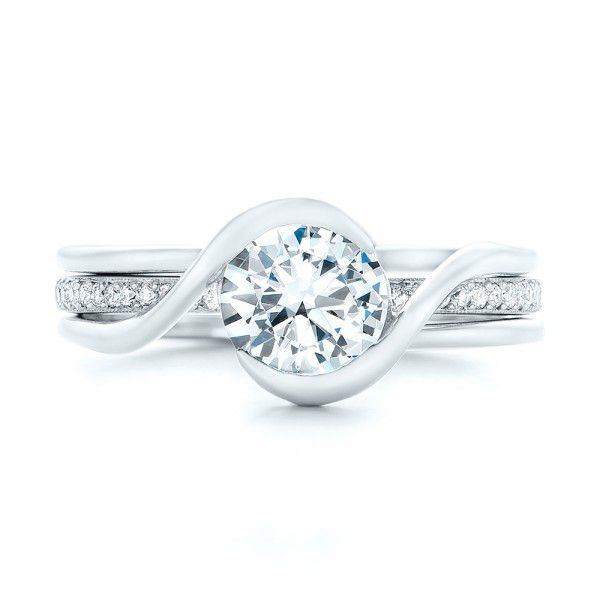 Custom Interlocking Solitaire Engagement Ring - Image