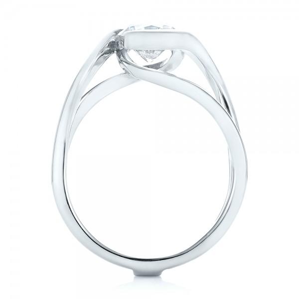 Custom Interlocking Solitaire Engagement Ring - Finger Through View