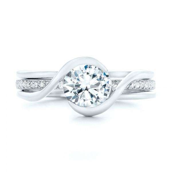 Custom Interlocking Solitaire Engagement Ring