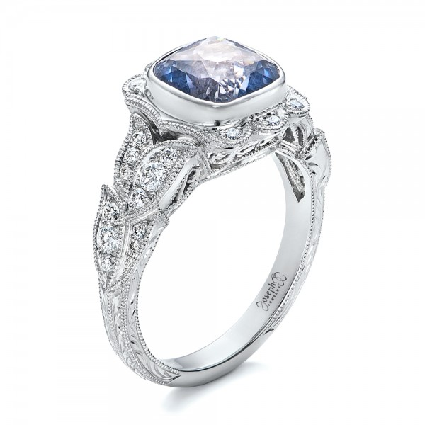Custom Light Blue Sapphire and Diamond Engagement Ring