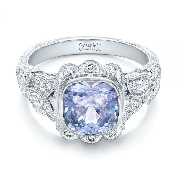 Custom Light Blue Sapphire and Diamond Engagement Ring - Flat View -  102135 - Thumbnail