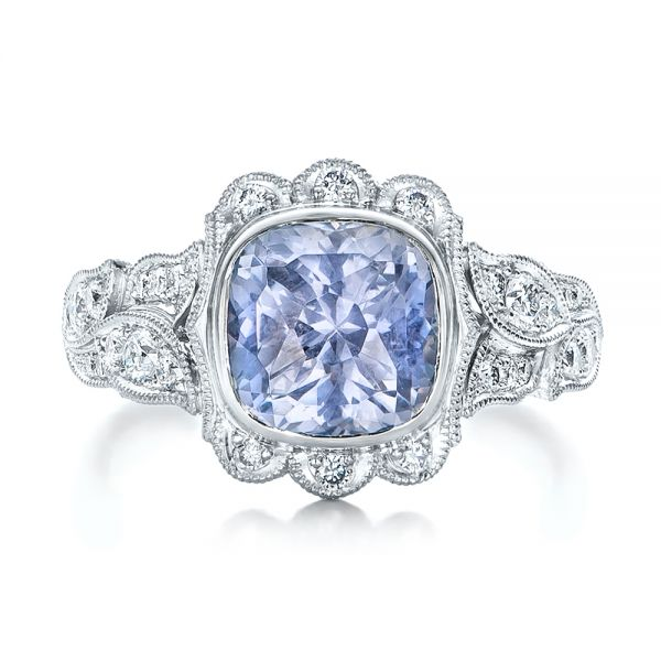 Custom Light Blue Sapphire and Diamond Engagement Ring - Top View -  102135 - Thumbnail