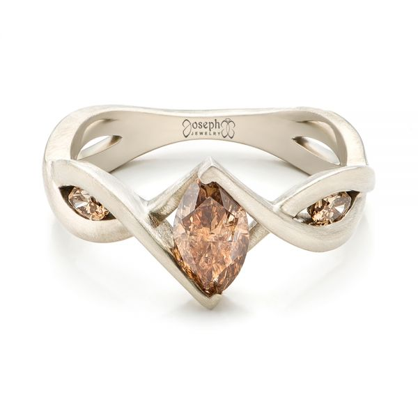 14k White Gold Custom Marquise Cognac Brown Diamond Engagement Ring - Flat View -