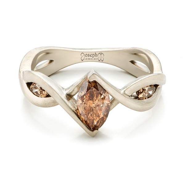 Custom Marquise Cognac Brown Diamond Engagement Ring