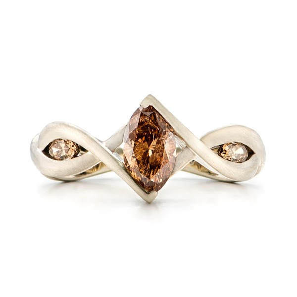 Custom Marquise Cognac Brown Diamond Engagement Ring - Top View