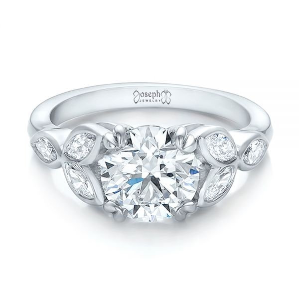 Custom Marquise Diamond Engagement Ring - Flat View -  100647 - Thumbnail