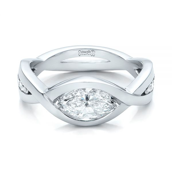 14k White Gold Custom Marquise Diamond Engagement Ring - Flat View -