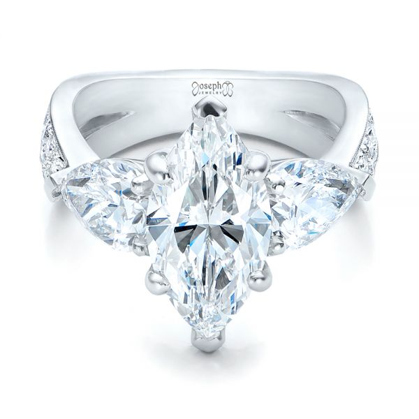 Platinum Custom Marquise Diamond Engagement Ring - Flat View -