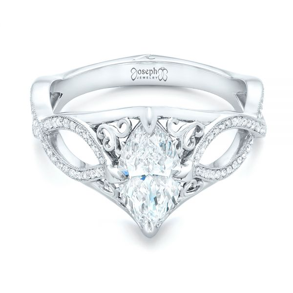 Platinum Custom Marquise Diamond Engagement Ring - Flat View -  102731