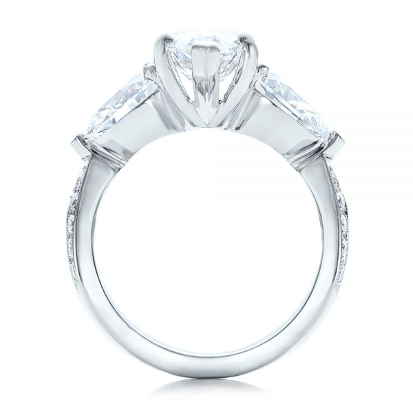 Platinum Custom Marquise Diamond Engagement Ring - Front View -
